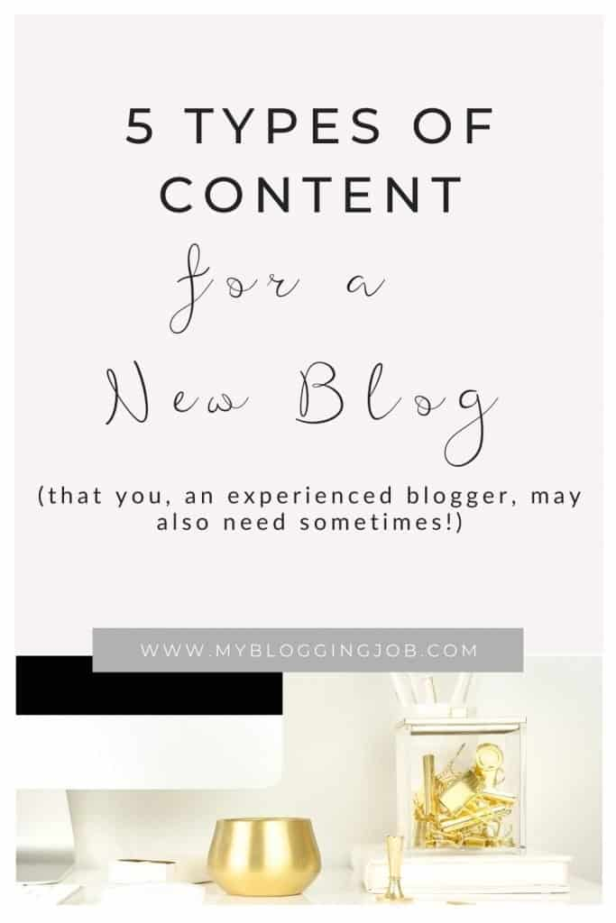 Types of content for a new blog